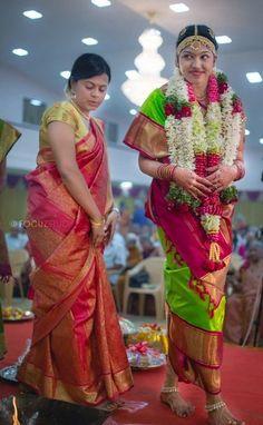 Beautiful Brahmin Bride in Traditional Nine Yard Madisar in Parrot Green and Magenta