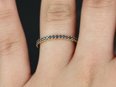 Mohma 14kt Rose Gold Scalloped Wall Black Diamonds by RosadosBox