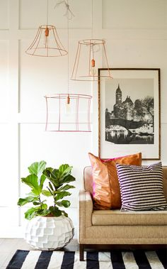 Copper painted lampshade frames from Vintage Revivals. I want to do this but the bare bulbs bug me.