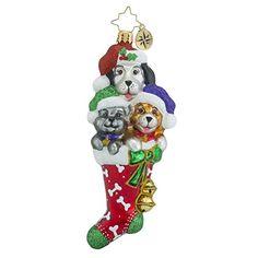 Christopher Radko Stocked Full of Cute Dog Themed Glass Christmas Ornament