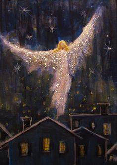 Original Angel Painting Healing Energy by Breten Bryden, BrydenArt.com  CapeCodArtist #Impressionism