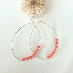 Curious Floating Pink Coral Earrings - Large Hoop - Beach Earring - 14k Gold or Sterling Silver - Beach Jewelry