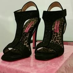 Betsey Johnson Black Heels Betsey Johnson Black Heels. The straps are shimmery. Betsey Johnson Shoes Heels