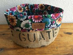 Traditional fabric from Anatolian village dress paired with coffee sack burlap for a floral basket