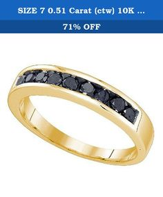 SIZE 7 0.51 Carat (ctw) 10K Yellow Gold Round Cut Black Diamond Men's Fashion Wedding Band 1/2 CT. This lovely diamond ring feature 0.51 ct black diamonds in channel setting. All diamonds are sparkling and 100% natural. All our products with FREE gift box and 100% Satisfaction guarantee. SKU # GD81829.