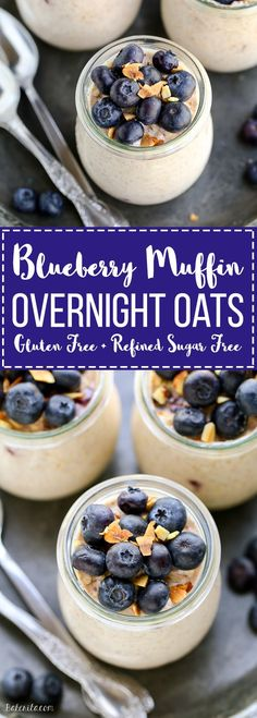 These Blueberry Muffin Overnight Oats come together in five minutes so breakfast will be ready right when you wake up! This easy overnight oat recipe tastes like blueberry muffins and can be served cool or warm. They're gluten-free & refined sugar free.