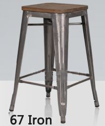French Industrial Stool Designer Vintage Bar Stool Loft Style Chair With Elm Wood Surface Metal