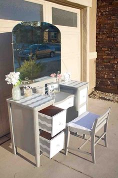 Refurbished Chevron Waterfall Vanity - Amazing antique waterfall vanity painted in my grey and white homemade chalkpaint. Chevron striped on top AND surprise ch…