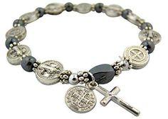 Silver Tone Saint Benedict Medal Hematite Bead Rosary Bracelet, 7 1/2 Inch