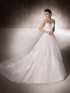 MANSIA Floor Length A-line Illusion Neck St. Patrick Wedding Dress