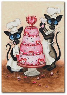 Print from one of my Original Paintings ~ AmyLyn Bihrle ●•٠·˙ Siamese Series #334    Title: Pastry Chefs    ● Sizes available- Use drop down menu