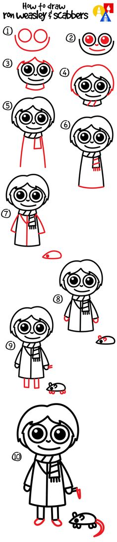 How To Draw Ron Weasley And Scabbers!