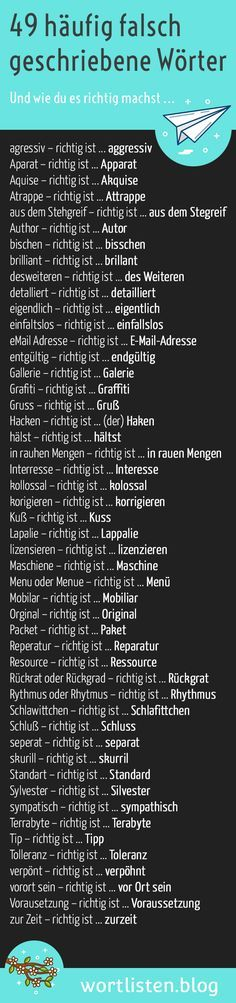 49 Frequently Misspelled Words - And How To Do It Right .- 49 häufig falsch geschriebene Wörter – Und wie du es richtig machst 49 Frequently Misspelled Words – And How To Do It Right - German Grammar, German Words, Writing A Book, Writing Tips, Creative Writing, German English, German Language Learning, Learn German, E-mail Marketing