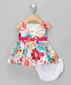 Take a look at this White & Turquoise Flower Dress & Diaper Cover - Infant by the Mini Sissy on #zulily today!