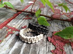 Organic Hemp RingsSet of 2 Hemp Rings Black and Tan by TheSunLab, $5.00