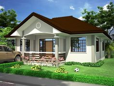 Want to have a beautiful house but you have a narrow lot? Here are some small house plans for you to check out! Simple Bungalow House Designs, Small Bungalow, Simple House Design, My House Plans, Bungalow House Plans, Small House Plans, One Storey House, Beautiful House Plans, House Design Pictures