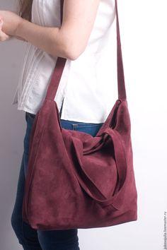 international shipping Купить Сумка из натуральной кожи спилок вишневая бордовая шоппер мешок №12.16 - бордо