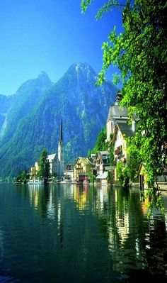 "Lake Village, Hallstatt, Austria by catrulz... This is what I call, ""Living on the water"". The garage is for my boat."