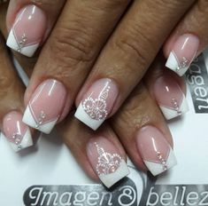 French Manicure Nails, French Nails, Gel Nails, Mani Pedi, Pedicure, Rose Nail Design, Romantic Nails, Simple Acrylic Nails, Lace Nails
