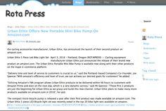 Urban Ethix Press Release- New Mini Bike Pump