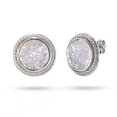 Sterling Silver Round Iridescent Drusy Earrings