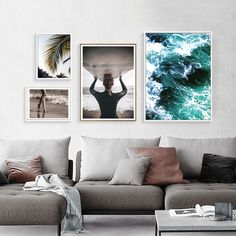 Nordic Poster Beach Posters And Prints Art Canvas Painting Leaf Wall Art Canvas