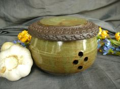 Garlic Keeper in Spring Green and Black Mountain. Keeps your garlic fresh and handy. Pottery by Sally Anne Stahl