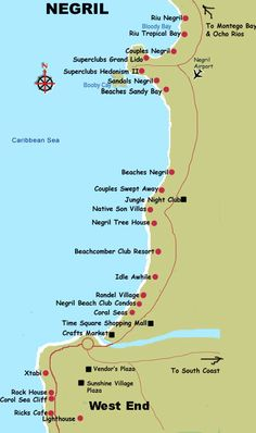 Seven Mile Beach Resort Map | Negril Coastal Map See map details From jamaica-insider.com