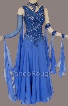 Electric Blue Waltz Ballroom Dance Dress