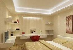 Iluminação indireta com sanca de gesso e spots para iluminação de nicho no fundo