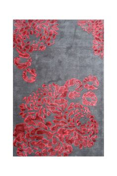 Grey and red hydrangea print rug - wow