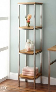 Get your bathroom organized this summer! The Roeding Vertical Teak Shelf has a versatile look that complements the look of multiple rooms in your home. Featuring multiple shelves and a sturdy stainless steel frame, this product is built to last.