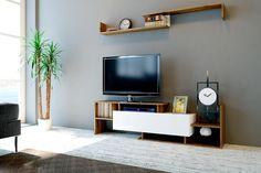 Sada TV Komoda a nástěnná police Dream White - Vivre. Furniture Direct, Unique Furniture, Furniture Deals, Tv Unit Design, Cabinet Shelving, Cupboard Storage, Modern Tv, Modern Living, Oak Color