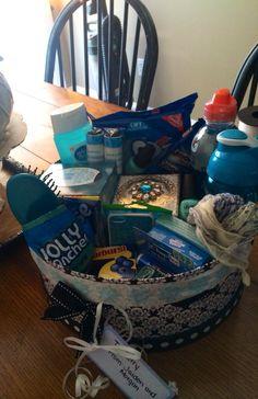 Blue color themed gift basket