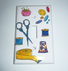 Sewing themed single light switch cover by MoanasUniqueDesigns, $10.00