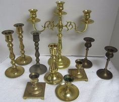Lot of 10 Shiny Used Brass Candlesticks - 2 Pair and 6 Singles. This is a lot of 10 used brass candlesticks. Brass Candle Holders, Candlesticks, Wedding Decorations, Chandelier, Ceiling Lights, Free Shipping, Vintage, Home Decor, Candle Holders