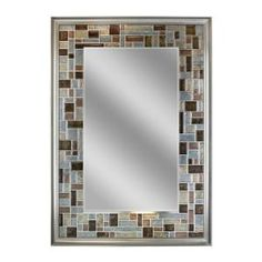 Deco Mirror, 34 in. L x 24 in. W Windsor Tile Mirror in Brush Nickel Frame, 1200 at The Home Depot - Mobile