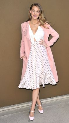 Love the spring pastel colors on Blake Lively.