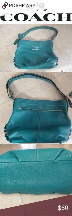 COACH Hobo Teal Purse Beautiful like new COACH purse!    *4th pic shows a very tiny scuff on bottom* Coach Bags