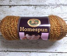 Lion Brand Homespun Yarn Bourbon Whiskey 409 Gold Brown Bulky Acrylic 6 oz USA Knitting Crochet Supplies Destash New