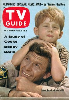 "CAN YOU WHISTLE THE THEME? The Andy Griffith Show TV GUIDE magazine cover, Jan. 28 - Feb. 3, 1961, with Andy Griffith and Ronny ""Opie"" Howard on the cover. THE ANDY GRIFFITH SHOW is still one of my all-time favorites. Mayberry always feels like home."