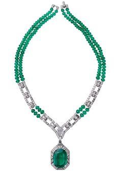 Viracocha Necklace. 26.60ct cushion-shaped emerald and diamonds.