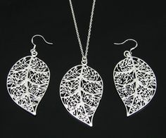 Trendy Silver Plated Hollow Out Leaf Shaped Jewelry Sets (necklace+earrings) Metal Jewelry, Pendant Jewelry, Jewelry Sets, Sterling Silver Chains, Sterling Silver Pendants, Silver Maple Leaf, Leaf Necklace, Fashion Jewelry, Earrings