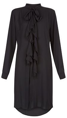 Womens black blue vanilla frill pussybow shirt dress from New Look - £25 at ClothingByColour.com