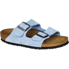 Birkenstock Arizona Soft Footbed Suede Narrow Sandal ($135) ❤ liked on Polyvore featuring shoes, sandals, suede sandals, feather sandals, birkenstock footwear, suede leather shoes and high heel shoes