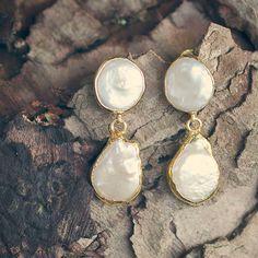 Fresh Water Pearl Dangles /// Gemstone Gold Dipped Earrings // Electroformed Stud Earrings // freshwater pearls gold edges // Stud Earrings
