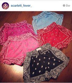 Bandana shorts Clueless Outfits, Swag Outfits, Girl Outfits, Cute Outfits, Bandana Bikini, Bandana Outfit, Clothes Crafts, Sewing Clothes, Bandana Crafts