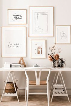 Black & White Lines, Abstract Beige Tones : Workspace Inspiration, Home Decor Inspiration, Home Office Design, Home Office Decor, Bedroom Decor, Wall Decor, Bedroom Workspace, Aesthetic Rooms, Deco Design