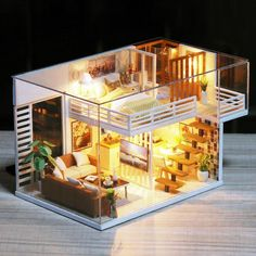 33 Gorgeous Tiny House Interior Design And Decor Ideas Diy Dollhouse, Dollhouse Furniture, Home Furniture, Miniature Dollhouse, Wooden Dollhouse, Doll Houses For Sale, Miniature Houses, Doll House Miniatures, Mini Houses
