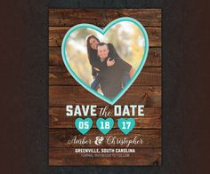25 Rustic Hearts Save the Date Magnets by LittleBeesGraphics